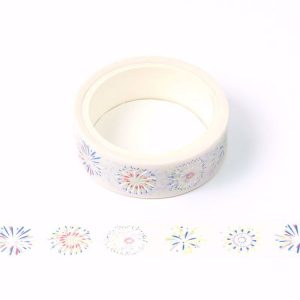 Blue and Silver Firework Foil Decorative Washi Tape 15mm x 5m