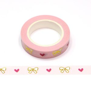 Gold Foil Embossed Bows With Pink Hearts Love Washi Tape 10mm x 10m