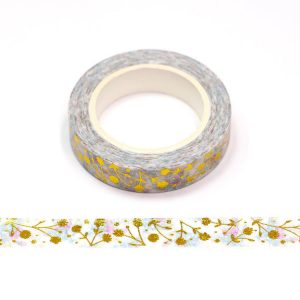 Gold Foil Embossed Flowers Floral Washi Tape 10mm x 10m
