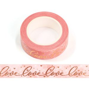 Pink and Rose Gold Love and Hearts Washi Tape 15mm x 10m
