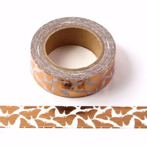 White With Rose Gold Foil Butterflies Washi Tape Decorative Masking Tape