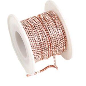 Rose Gold Rhinestone Diamante Chain Trim Grade A 3mm Wide x 1 Metre Long