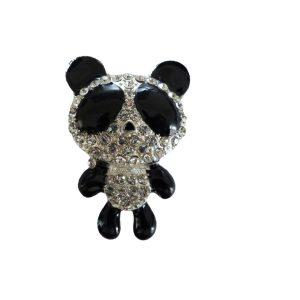 Black Enamel Diamante Panda Crystal Rhinestone Embellishment