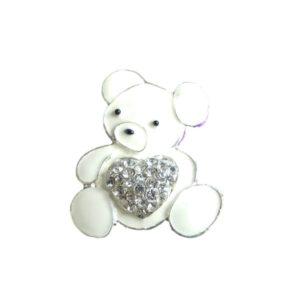 White Enamel Teddy Bear Diamante Crystal Heart Rhinestone Embellishment