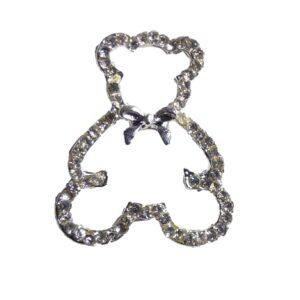Silver Teddy Bear Silhouette Diamante Rhinestone Crystal Embellishment
