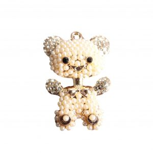 Rose Gold Pearl and Diamante Bear Crystal Rhinestone Embellishment With Ring