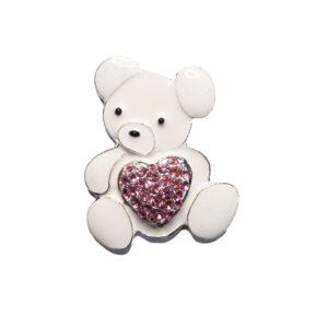 White Enamel Teddy Bear Pink Diamante Crystal Heart Embellishment