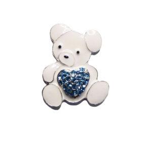 White Enamel Teddy Bear Blue Diamante Crystal Heart Embellishment