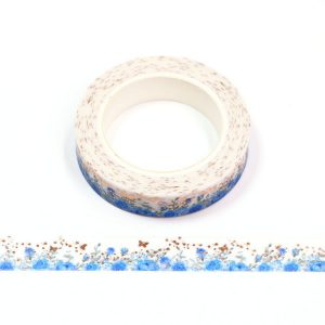 Blue Rose and Gold Butterfly Foil Floral Washi Tape 10mm x 10m