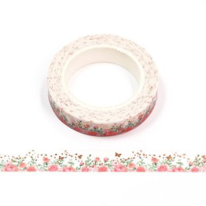 Pink Rose and Gold Butterfly Foil Floral Washi Tape 10mm x 10m