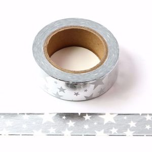 Silver Solid Foil With White Stars Decorative Washi Tape 15mm x 10m