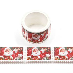 Cute Father Christmas Santa Claus Postage Stamp Washi Tape Stickers 25mm x 3m