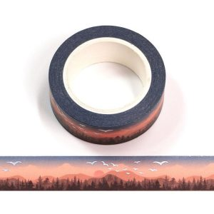 Sunset Washi Tape With Silver Holographic Birds Decorative 15mm x 10m