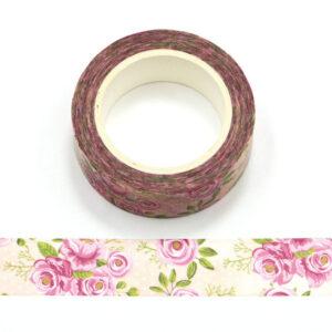 Pink Rose Floral Flower Decorative Washi Tape 15mm x 10m