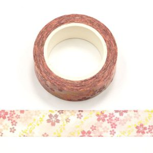 Pink and Gold Foil Romantic Cherry Blossom Decorative Washi Tape 15mm x 10m